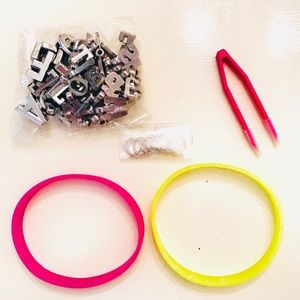 Girls Silicone Bracelets + Charms Kit 5 Pieces